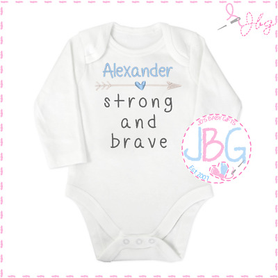 Personalised Baby Vest/Bodysuit 'Strong & Brave' Baby shower/Christening Gift