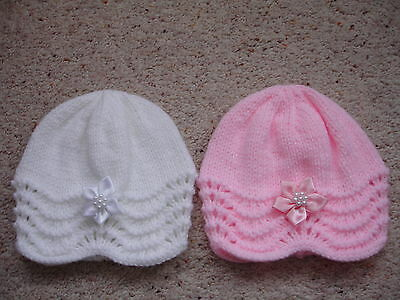 Brand New Hand Knitted Newborn Baby Beanie Hat
