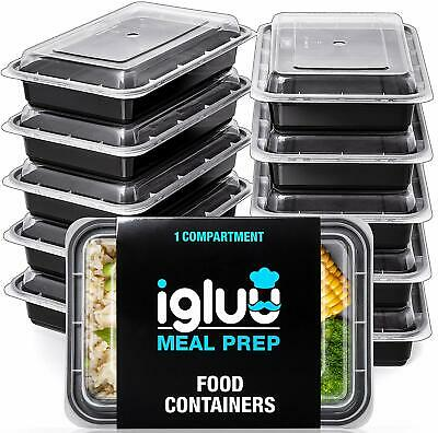 1 Compartment BPA-Free Reusable Meal Prep Containers Plastic Storage (10 pack)