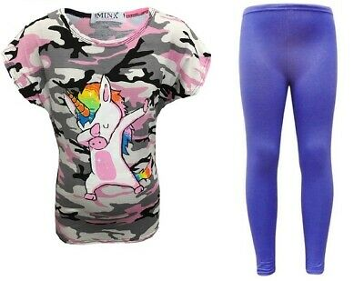 New Girls Unicorn Pink Camo Top & Jeggings Leggings Outfit Age 7 8 9 10 11 12 13