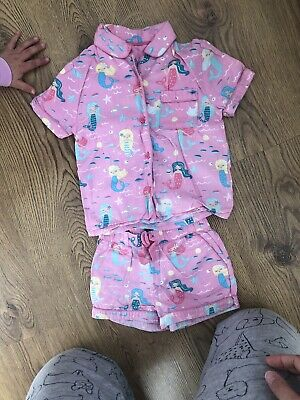 M&S Girls Summer Pyjamas. Mermaid Design.12-18 Months