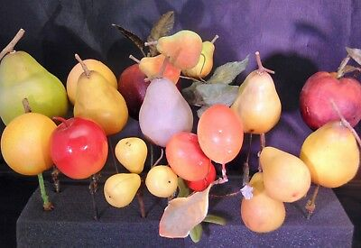 Lot of 15 Mid Century Fruit Picks Artificial Faux Fake Realistic Apple Pear Plum