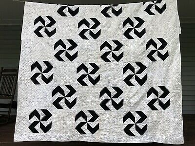 Antique Handmade Quilt Black Ivory Pinwheel Windmill Whirlygig Twin Full Vintage