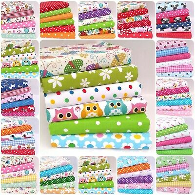 Fabric Material Bundles Fat Quarters & Squares Childrens Poly Cotton Freepost