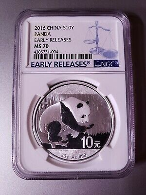 2016 China Silver Panda (30 g) 10 Yuan - NGC MS70 - Early Releases