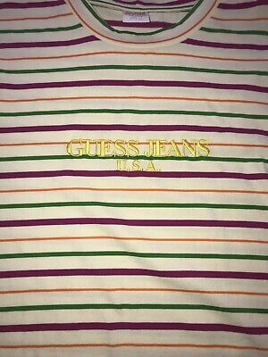 901a4fc742d1 Dragonfruit Guess Jeans Sean Wotherspoon Farmers Market Striped T-Shirt  Large