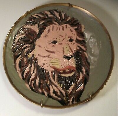 "Antique Vintage Mid Century Handpainted 8"" Raised Brass Lion Plate Dish folk art"