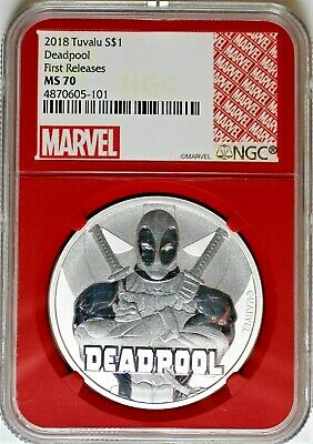 2018 Tuvalu $1 Silver Marvel Deadpool NGC MS70 First Releases