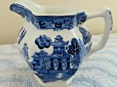 Vintage Woods Ware Blue and White Willow Pattern Cream Milk Jug Wood & Sons
