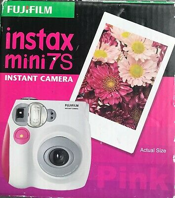 Fujifilm Instax Mini 7S Instant Film Flash Polaroid Camera Pink/white- Brand New