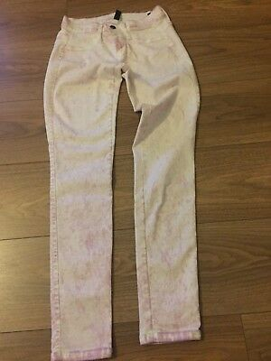 Women's Benetton Skinny Stretch Jeans Jeggins Size Uk 8 W28 Pink Hardly Used