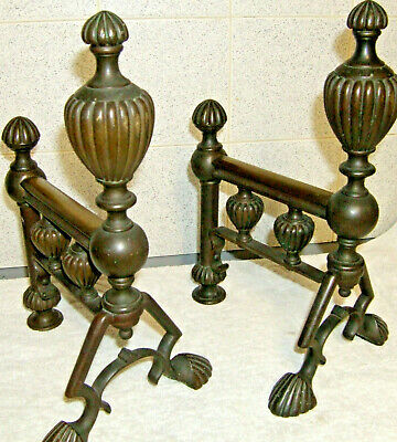Antique  Fireplace Aesthetic Andirons Fire Dogs brass