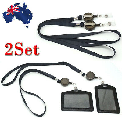 Leather Business ID Badge Card Holder & Retractable Lanyard Neck Strap Band OZ