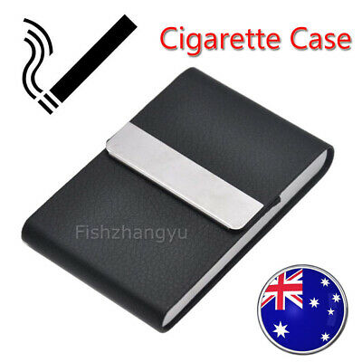 Stainless Steel PU Leather Cigar Cigarette Tobacco Case Pocket Pouch Holder Box