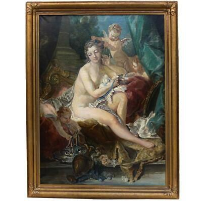 """19th Century Oil Painting """"The Toilette of Venus"""" after Francois Boucher"""