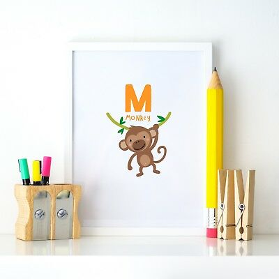 M is Monkey Animal Alphabet Learning Nursery Kids Decor Wall Print Colour Poster