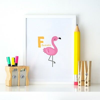 F Flamingo Animal Alphabet Learning Nursery Kids Decor Wall Print Colour Poster
