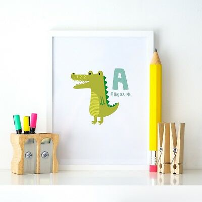 Alligator Animal Alphabet Learning Nursery Kids Decor Wall Print Colour Poster