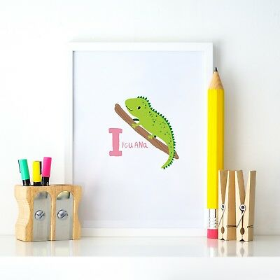 I is Iguana Animal Alphabet Learning Nursery Kids Decor Wall Print Colour Poster