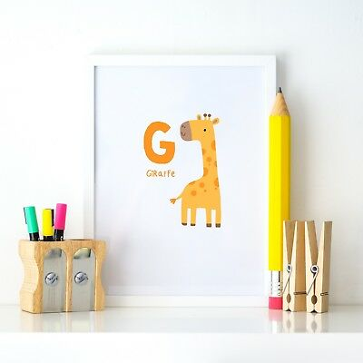 G Giraffe Animal Alphabet Learning Nursery Kids Decor Wall Print Colour Poster