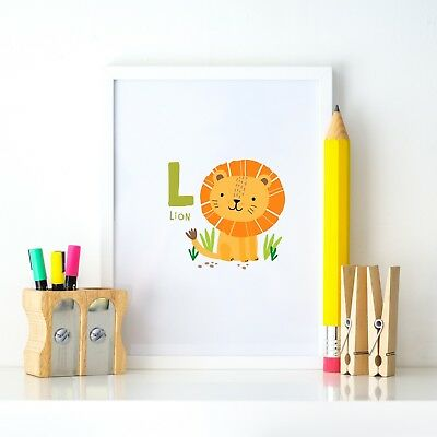 L for Lion Animal Alphabet Learning Nursery Kids Decor Wall Print Colour Poster
