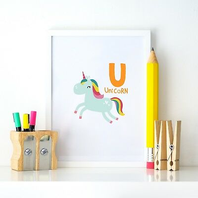 U Unicorn Animal Alphabet Learning Nursery Kids Decor Wall Print Colour Poster