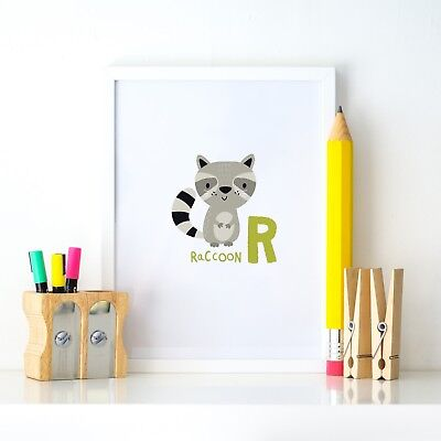 R Raccoon Animal Alphabet Learning Nursery Kids Decor Wall Print Colour Poster
