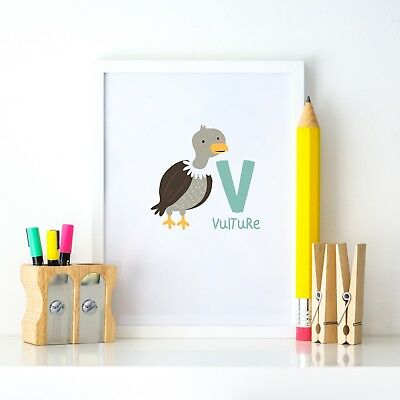 V Vulture Animal Alphabet Learning Nursery Kids Decor Wall Print Colour Poster