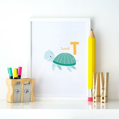 T is Turtle Animal Alphabet Learning Nursery Kids Decor Wall Print Colour Poster