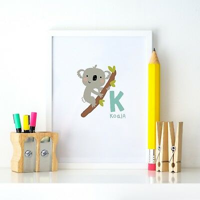 K for Koala Animal Alphabet Learning Nursery Kids Decor Wall Print Colour Poster