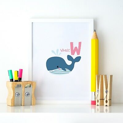 W for Whale Animal Alphabet Learning Nursery Kids Decor Wall Print Colour Poster