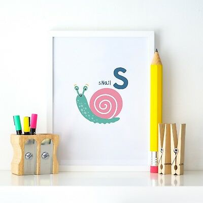 S for Snail Animal Alphabet Learning Nursery Kids Decor Wall Print Colour Poster
