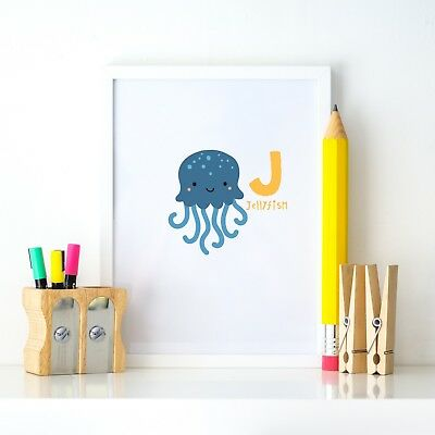 J Jellyfish Animal Alphabet Learning Nursery Kids Decor Wall Print Colour Poster