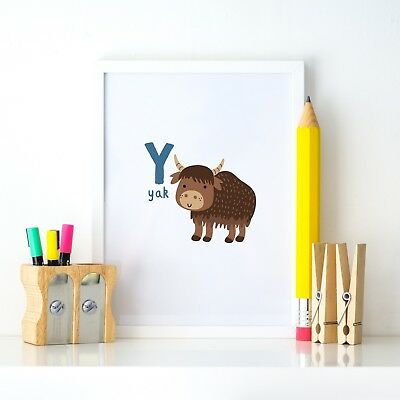 Y for Yak Animal Alphabet Learning Nursery Kids Decor Wall Print Colour Poster