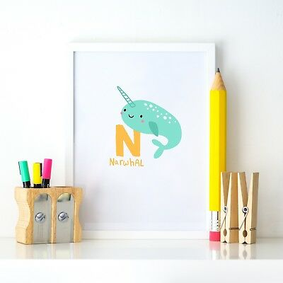 N Narwhal Animal Alphabet Learning Nursery Kids Decor Wall Print Colour Poster