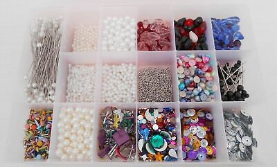 Lot of Craft Embellishments in Box - Beads, Sequins, Jewels, Pearls & Pins etc.