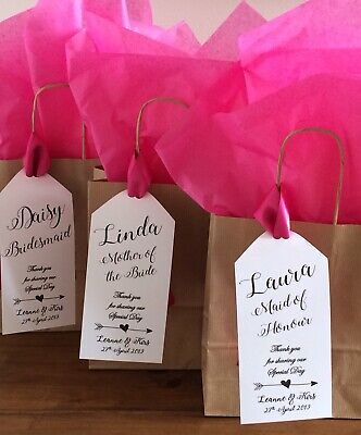 Personalised Brown Paper Favour Bag/Gift/Wedding/Hen/Christening/Party (Tag)
