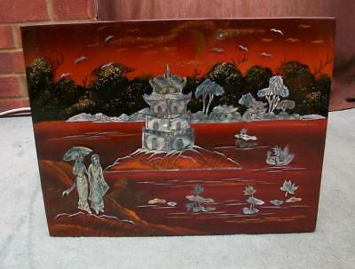 Vintage Art Deco Chinoiserie M.o.p. Chinese Wooden Picture