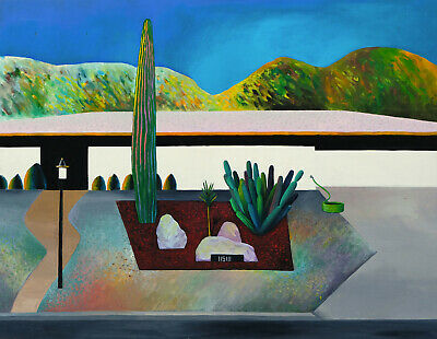 PALM SPRINGS Original landscape painting on board, unsigned 1980s California art