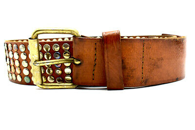 Toobkal Vintage Handmade Mens Real Leather Belt with Studs Brown Size 34