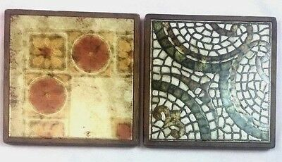 Set Of Two Vintage  Mid Century Trivet Tiles Wood Frames Made In Italy