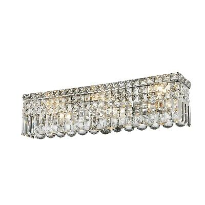 """US BRAND Cascade 8 Light Faceted Crystal Vanity Light Wall Sconce 24"""" Long Wide"""