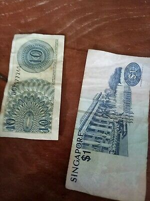 SINGAPORE AND INDONESIA BANK NOTES-$1 and 10 sepuluh sen