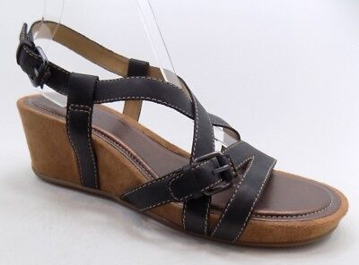 6f8b42cdced7 Naturalizer N5 Comfort Paco Women Black Leather Open Toe Wedge Sandal SZ11M  NEW