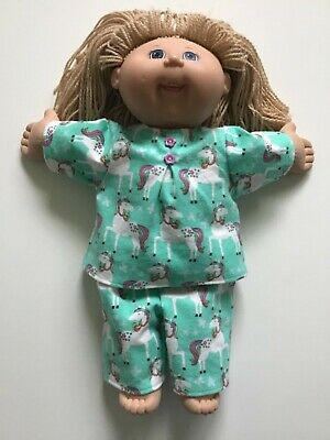 """DOLLS CLOTHES to fit 16"""" CABBAGE PATCH DOLLS *Unicorn~Winter Pyjamas*"""