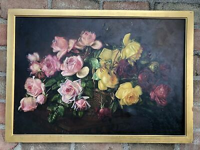 Antique Original Oil Painting Canvas Roses by S.S. Anthony from Charles Calder