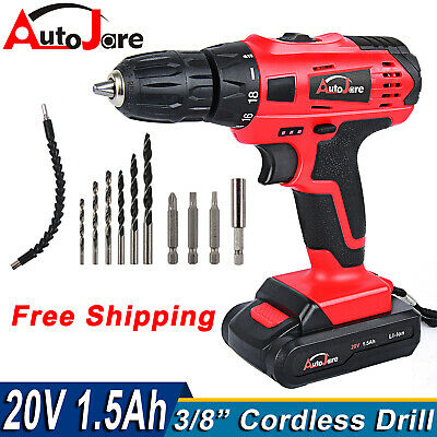 Powerful Electric Cordless Drill Kit with Rechargeable li-ion Battery tool 20V