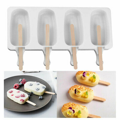 Silicone Frozen Ice Cream Mold Juice Popsicle Maker Ice Lolly Pop Mould - 4 Cell