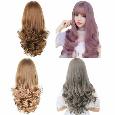 Women Girls Synthetic Long Hair Full Wig Curly Wavy Cosplay Party Wigs with Bang