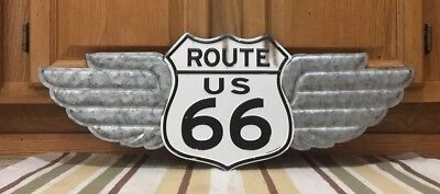 Route US 66 Wings Highway Road Trip Man Cave Bar Diner Garage Gas Oil Parts Auto